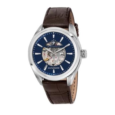 MASERATI 瑪莎拉蒂 TRAGUARDO 鏤空三針機械皮帶腕錶45mm(R8821112005)