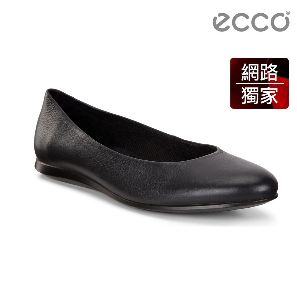 ECCO TOUCH BALLERINA 2.0 優雅單色平底芭蕾舞鞋 女-黑