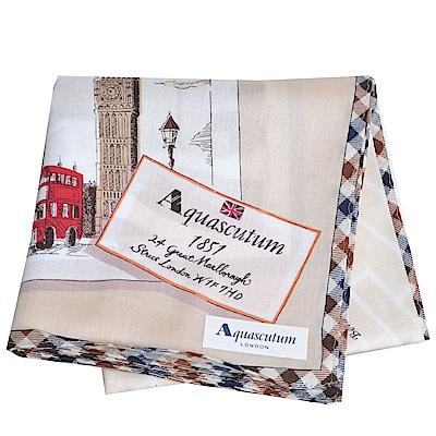 Aquascutum 品牌格紋滾邊倫敦笨鐘圖騰地圖LOGO帕領巾(卡其系) @ Y!購物