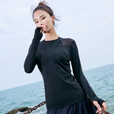 Biki比基尼妮泳衣,蜜貝網紗連手指長袖泳衣罩衫M-XL(單上衣)