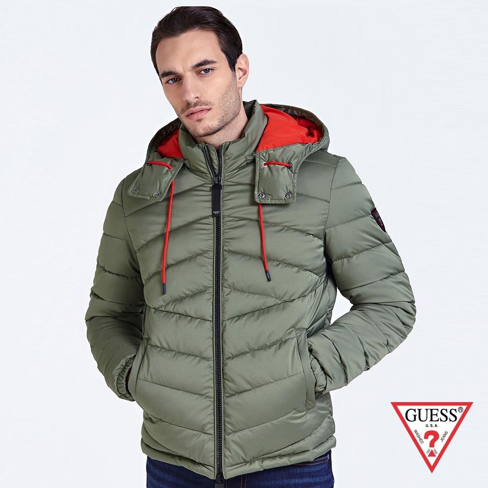 GUESS-男裝-極輕鋪棉連帽外套-綠 原價4990