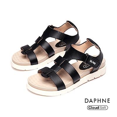 達芙妮DAPHNE 涼鞋-休閒羅馬舒適厚底涼鞋-黑色