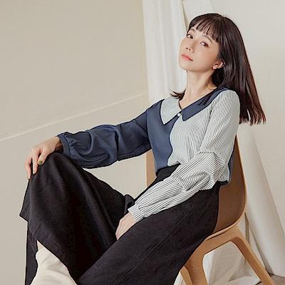 配色條紋不對稱拼接翻領造型打褶袖上衣-OB嚴選