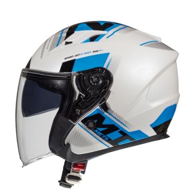 MTHELMETS MT安全帽 AVENUE sv SIDEWAY系列藍白色