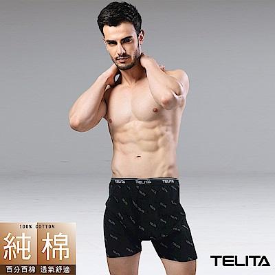 男內褲 型男純棉滿版平口褲/四角褲-型男黑 M-XXL TELITA