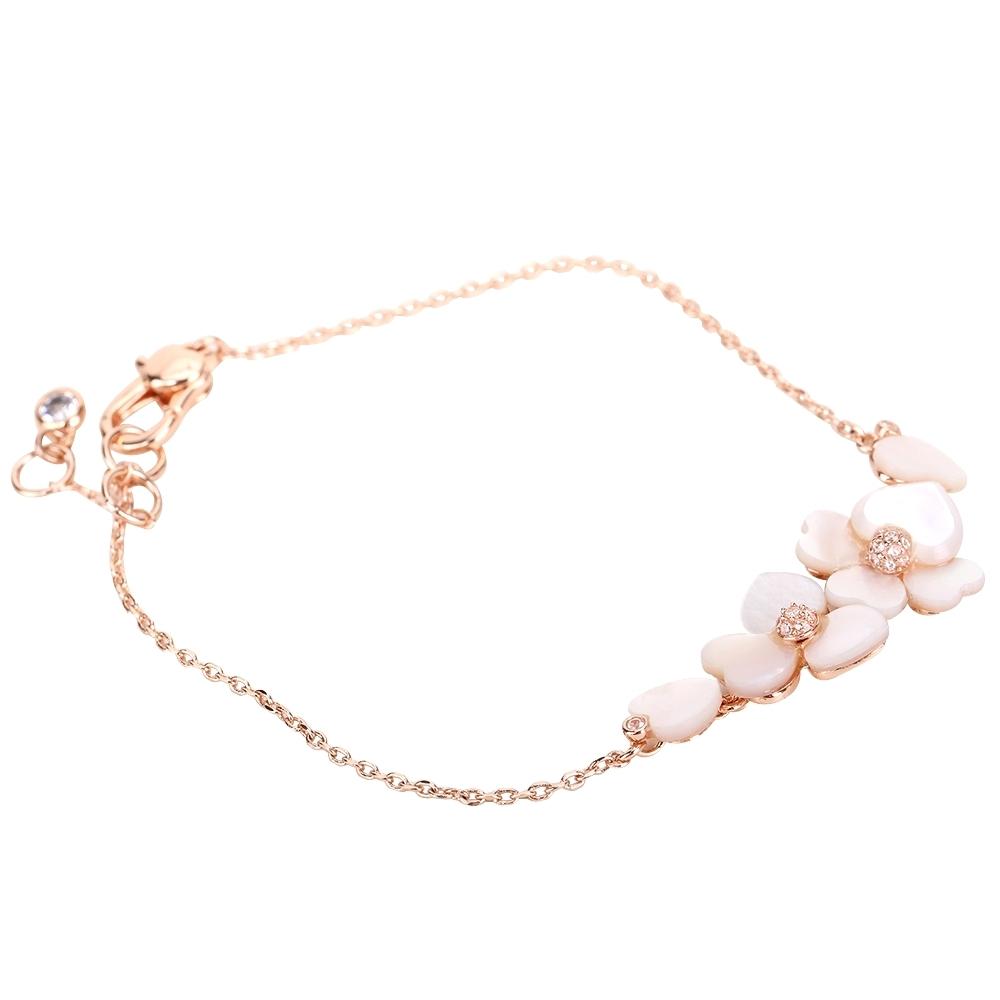 Kate Spade 三色菫珍珠貝母鑲鑽玫瑰金手鍊(奶油白)