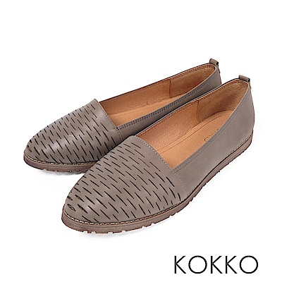 KOKKO -甜蜜舒芙蕾花紋全真皮平底鞋 - 潭水綠