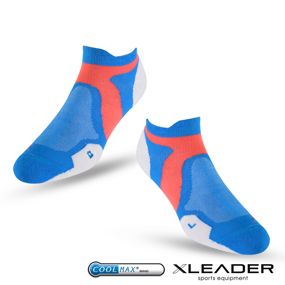 LEADER ST-02 X型繃帶加厚耐磨避震短襪除臭運動襪 女款 白藍 - 急