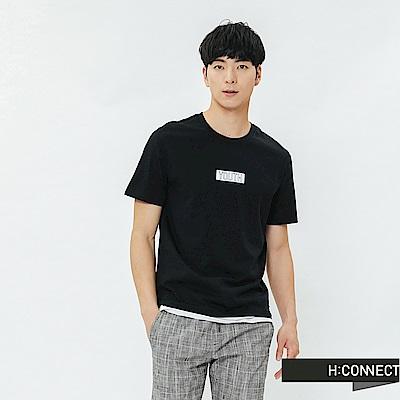 H:CONNECT 韓國品牌 男裝-層次感標語T-shirt-黑