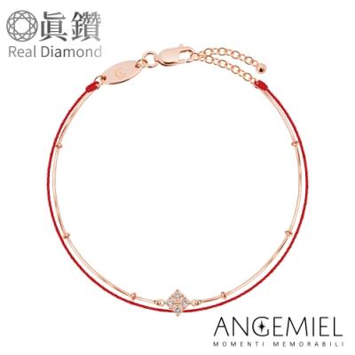 Angemiel 安婕米 鑽石幸運雙層紅繩銀鍊手鍊-光芒(玫瑰金)(小橢圓蛇鍊款)