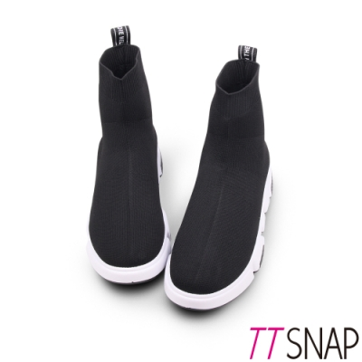 TTSNAP短靴-素面針織簡約運動厚底襪靴 黑