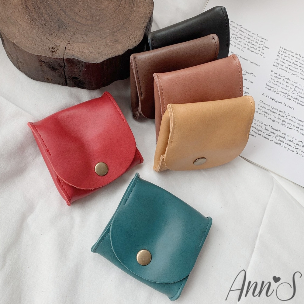 Ann'S手感復古牛皮大開口按扣式零錢包-6色