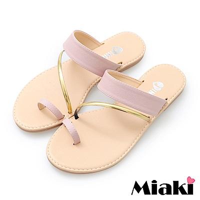 Miaki-涼鞋韓系時尚平底涼拖鞋- 粉色