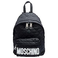 MOSCHINO 經典菱格紋縫線白色LOGO尼龍後背包(小-黑)