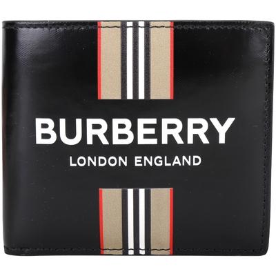 [可用折價券 只要$73xx] BURBERRY 字母標誌黑色牛皮8卡短夾