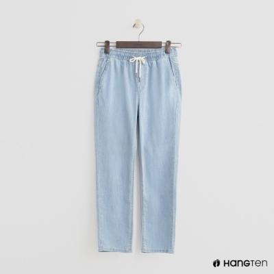 Hang Ten - 女裝 - 綁帶抽繩牛仔八分褲 - 淺藍