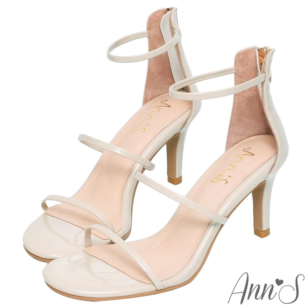 Ann'S極細三條帶漆皮細高跟涼鞋-米白