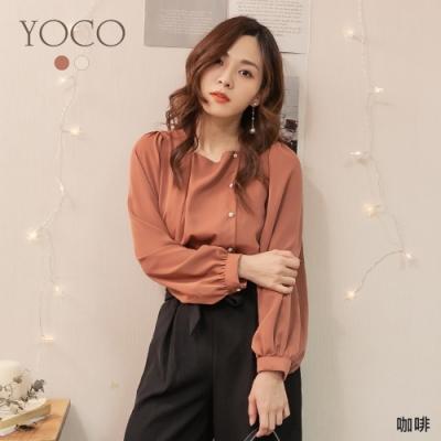 東京著衣-YOCO 優雅淑女方領鑽石側排釦公主袖上衣