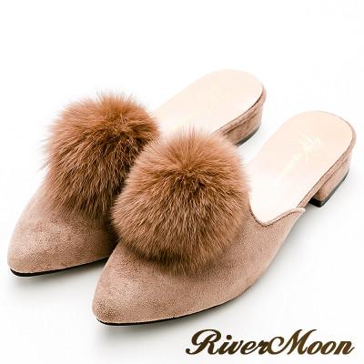 River&Moon韓版氣質細絨毛球穆勒尖頭跟鞋-卡其