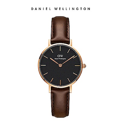 DW 手錶 官方旗艦店 28mm玫瑰金框 Classic Petite 深棕真皮皮革錶
