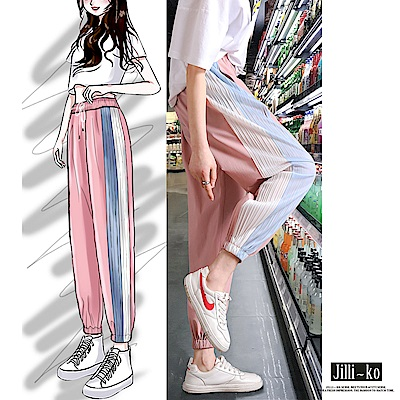 JILLI-KO 冰絲風琴摺雪紡闊腿褲- 黑/粉紅