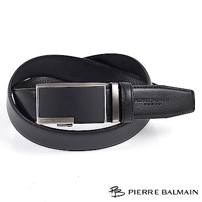 【PB皮爾帕門】商務素雅紳士黑方框頭層牛皮自動扣皮帶(357)