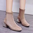 KEITH-WILL時尚鞋館-獨賣款春光燦爛絨面中筒靴-卡其色