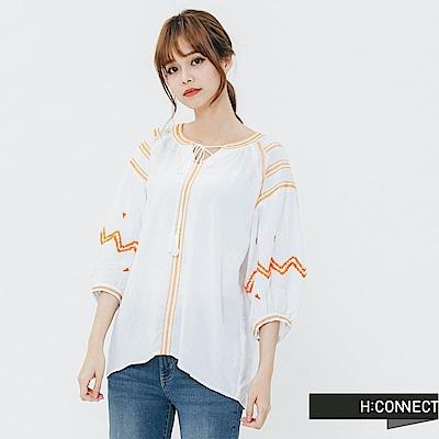 H:CONNECT 韓國品牌 女裝-刺繡造型綁結上衣-白