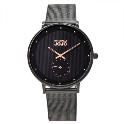 NATURALLY JOJO 極致完美時尚腕錶-神秘黑/42mm
