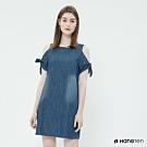 Hang Ten - 女裝 - 荷葉袖露肩連身洋裝 - 藍