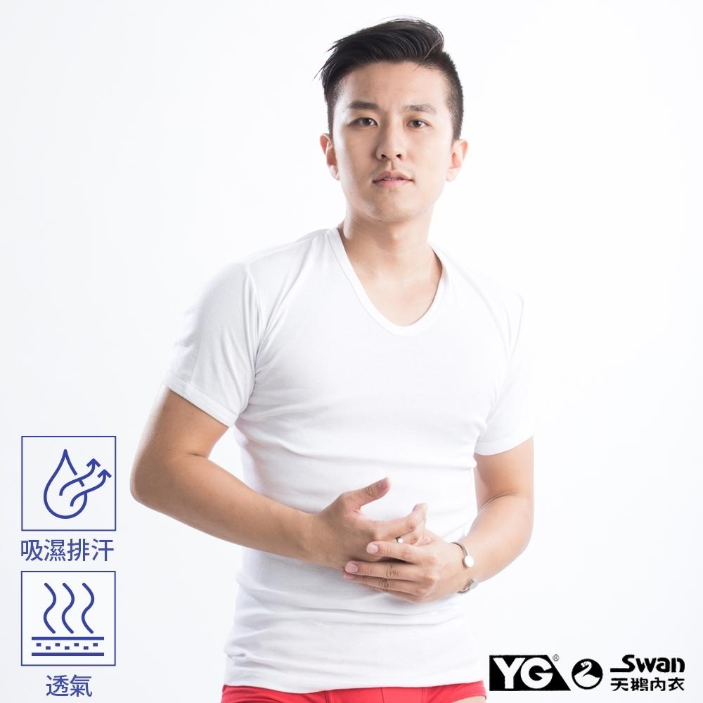 YG天鵝內衣 棉質吸濕排汗白色短袖衫-單件