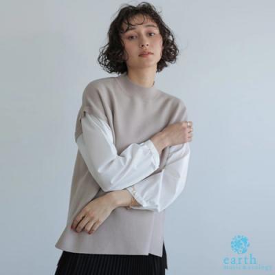 earth music 異素材襯衫袖拼接設計針織上衣