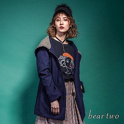 beartwo 學院風傘狀連帽保暖外套(灰色)