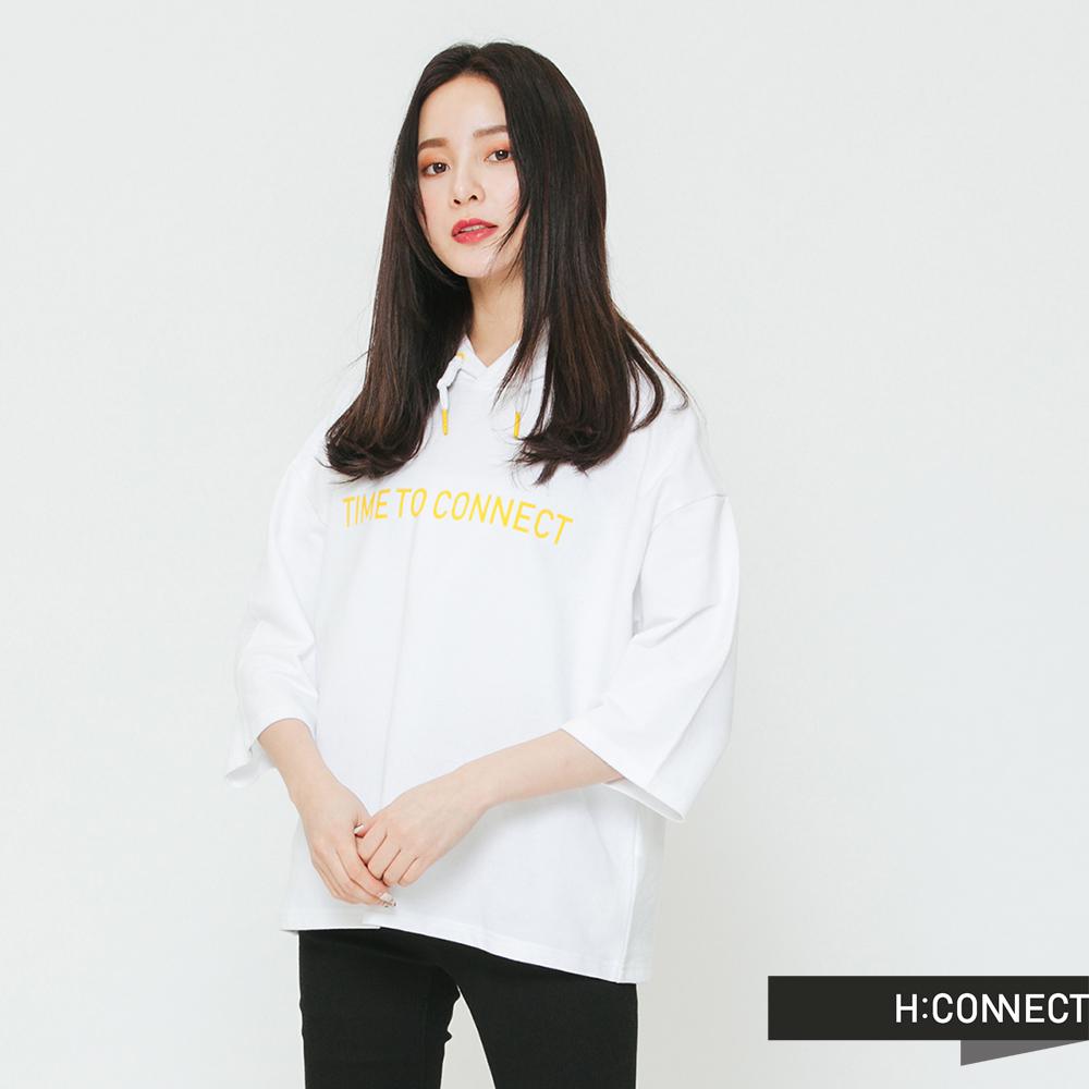 H:CONNECT 韓國品牌 女裝-配色印字抽繩帽T-白