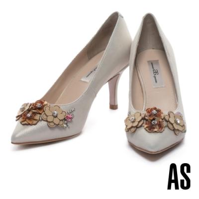 高跟鞋 AS 絢麗優雅花卉晶鑽尖頭高跟鞋-金
