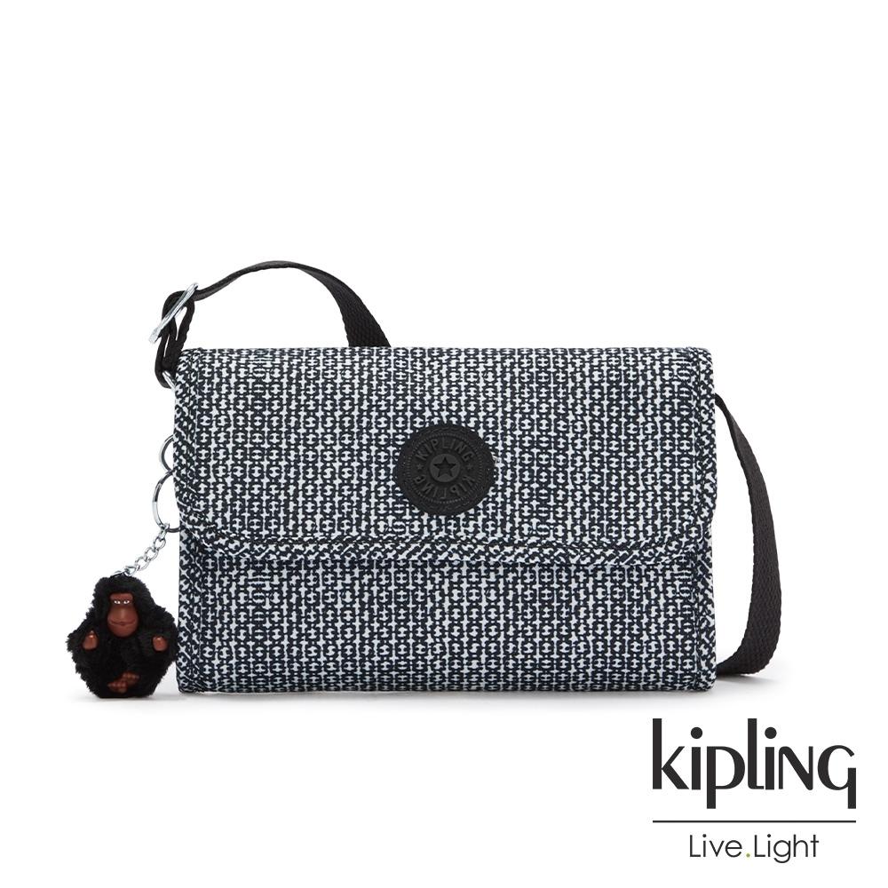 Kipling 簡約黑白幾何條紋掀蓋拉鍊肩背包-BERRY