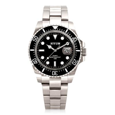 HYUN炫 男士設計精品錶-白鋼黑底