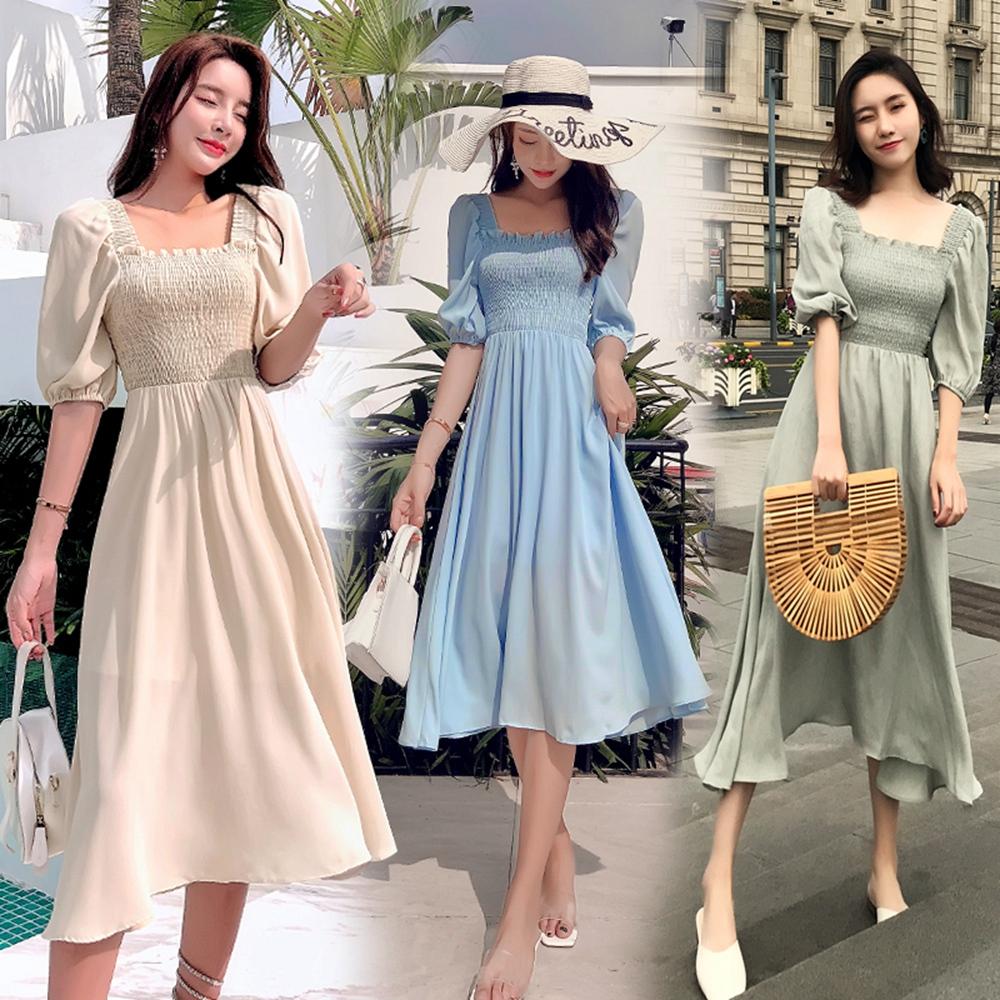 泡泡袖鬆緊拼接純色洋裝S-XL(共三色)-Dorri