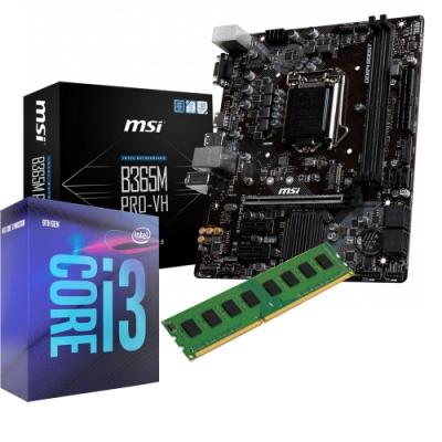 微星 MSI B365M PRO-VH 主機板+Intel I3-9100 處理器 +威剛 8G 組合