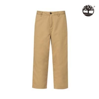 Timberland 男款卡其色涼感闊腿翻邊寬褲|A2CE1