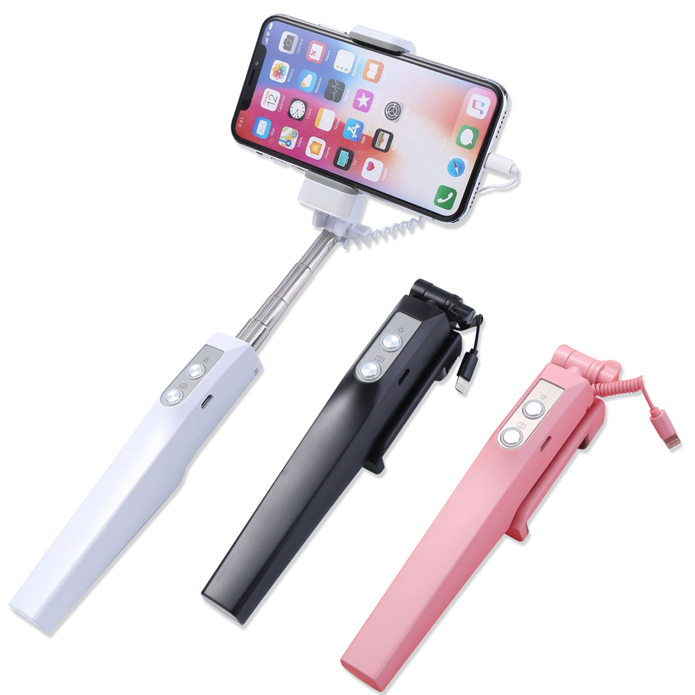 DIVI 美顏補光後視鏡 APPLE iPhone X iPhone8 7 線控自拍棒