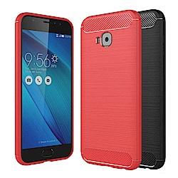 揚邑ZenFone4 Selfie Pro ZD552KL碳纖維拉絲紋軟殼抗摔手機殼-黑