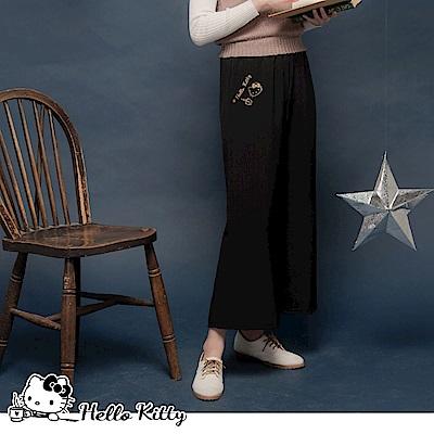 台灣製造~咖啡KITTY印花設計腰鬆緊寬褲-OB大尺碼