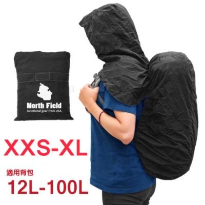 North Field 新款 三合一連帽式披肩可調防水背包套(XXS-XL).排水孔披風防雨罩_岩黑