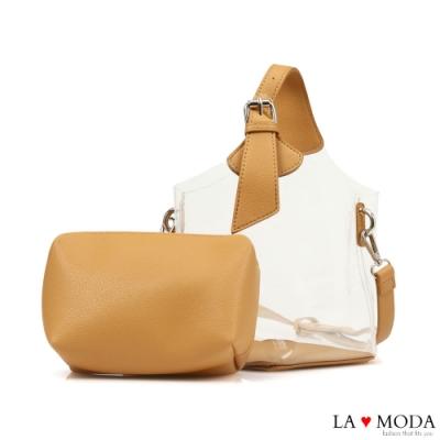 La Moda 夏日時尚元素可換背法透明果凍子母包(棕)