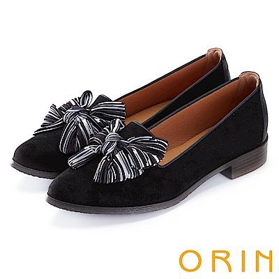 ORIN 俏麗女孩 布面大蝴蝶結設計樂福鞋-黑色