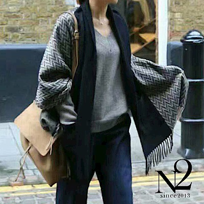披肩圍巾 正韓雙色大口袋毛料流蘇披肩圍巾 N2