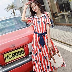 海軍風條紋印花雪紡洋裝 (紅色)-Kugi Girl