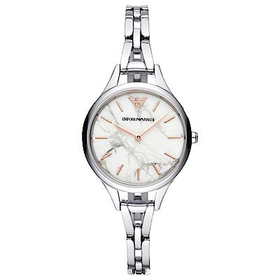 Emporio Armani 質感大理石紋時尚手錶(AR11167)-米白X銀/32mm