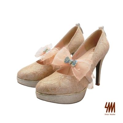 SM-甜美多變微尖頭蕾絲高跟鞋-粉色 (兩色)